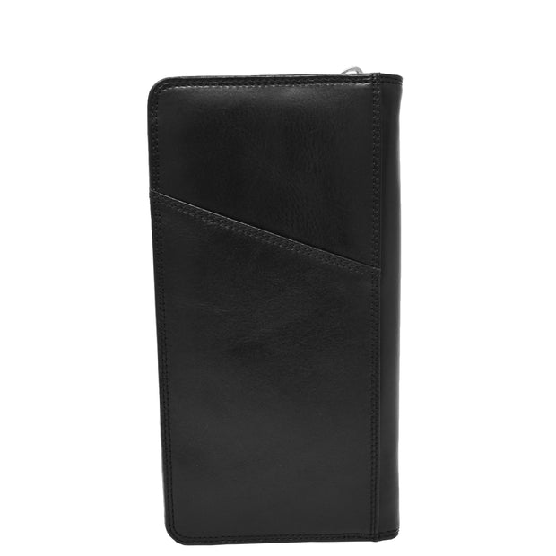 Real Italian Leather Travel Passport Wallet Boarding Pass Clutch Purse AVM10 Black Back