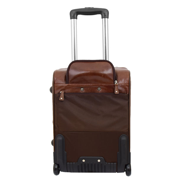 Luxurious Brown Leather Cabin Size Suitcase Hand Luggage Beverley Hills Back