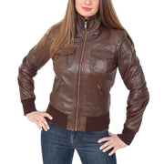 Womens Slim Fit Bomber Leather Jacket Cameron Brown