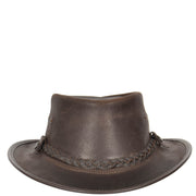 Authentic Australian Bush Leather Cowboy Hat Brown Front