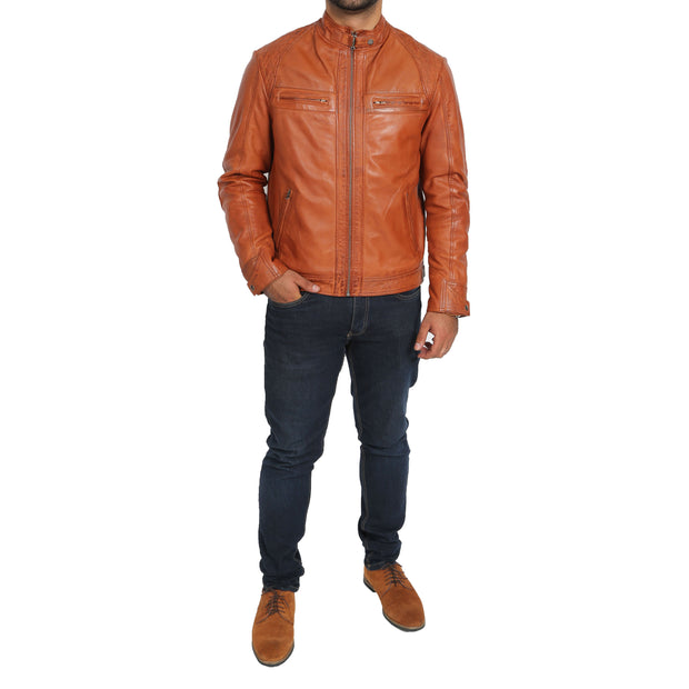 Gents Fitted Biker Leather Jacket Django Cognac Full