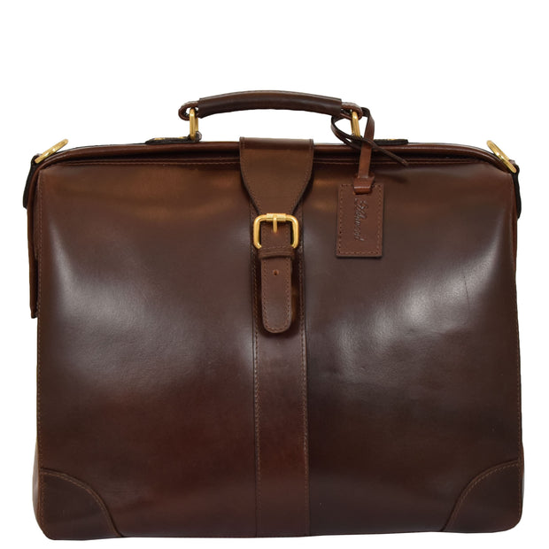Genuine Leather Doctors Briefcase Gladstone Bag Duke Brown Front