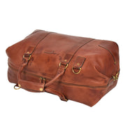 Genuine Leather Holdall Vintage Tan Travel Weekend Duffle Bag Rome Front Letdown