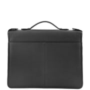 Black Leather A4 Ring Binder File Folio Office Bag Zip Organiser Braga Back 1