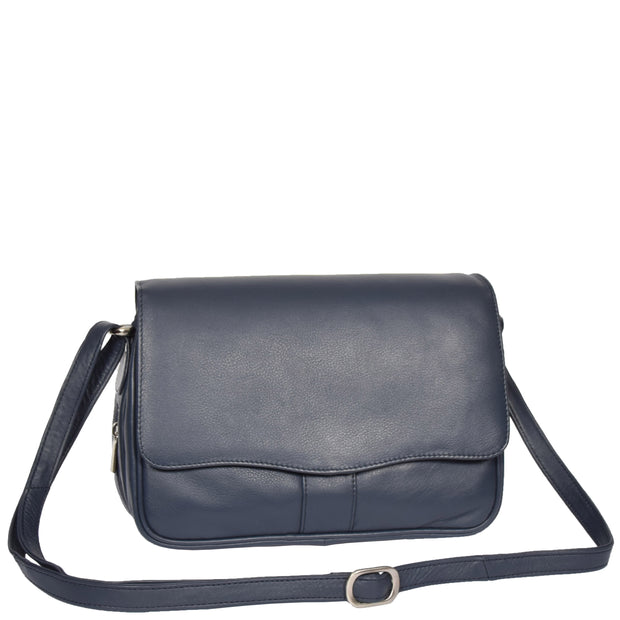 Womens Navy Leather Shoulder Messenger Handbag Ada With Belt