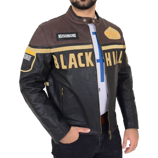 Mens Waxed Cowhide Biker Leather Jacket Badges Stripes Logos Tank Black Brown Front Open 1