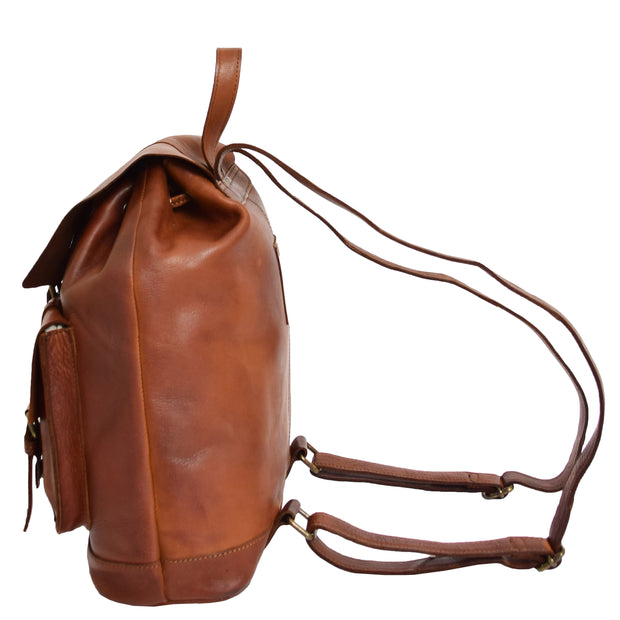 Genuine Vintage Rust Leather Backpack Large Organiser Rucksack AB99 Side