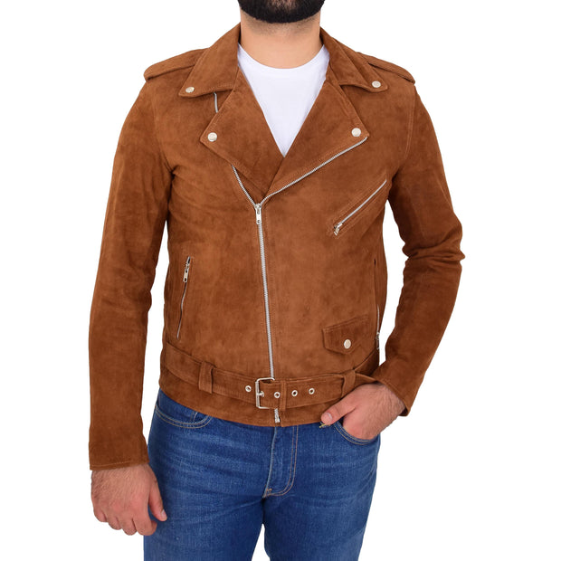 Genuine Suede Leather Biker Jacket For Mens Fitted Brando Coat Jay Cognac