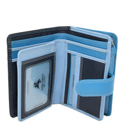 Womens Leather Booklet Evening Clutch Purse Multi Colour Wallet AVB51 Blue Open 1