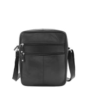 Mens Real Leather Shoulder Bag Cross Body Flight Pouch A155 Black Front 1