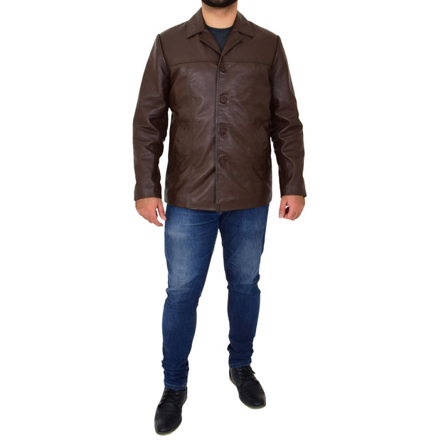 Mens Casual Leather Jacket Hip Length Brown Reefer Blazer Coat Harold Full