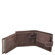 Mens Real Leather Bifold Clip Closure Wallet AV86 Brown Open 3