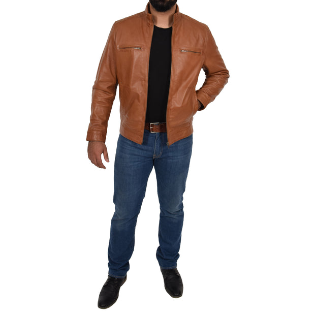 Mens Genuine Leather Biker Jacket Fitted Zip Up Coat Felix Tan Full