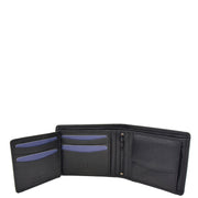 Mens Real Leather Large Size Bifold Wallet AL94 Black Open 2
