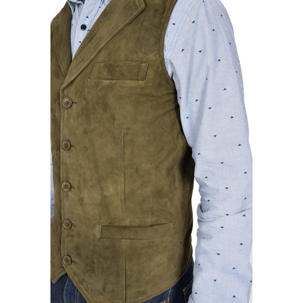 Mens Real Suede Leather Waistcoat Classic Vest Yelek Status Green Feature