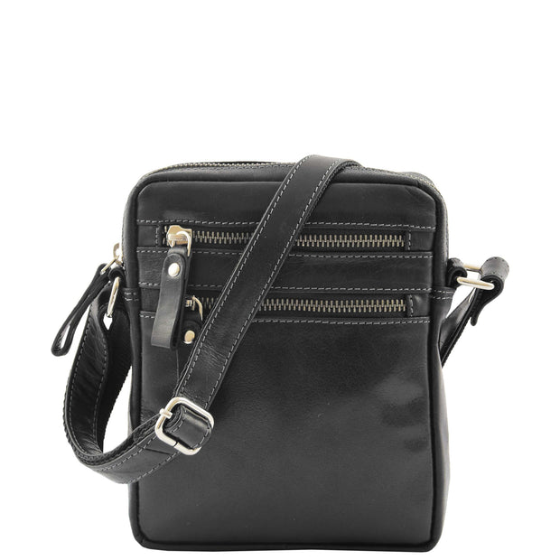 Luxury Black Leather Unisex Cross Body Flight Bag Small Pouch Sunny