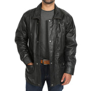 Gents Classic Soft Leather Parka Car Coat Steve Black open view