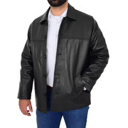 Gents Real Leather Button Box Jacket Classic Regular Fit Coat Luis Black Open 3