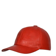 Genuine Leather Baseball Cap Sports Casual Viper Red Side Angle