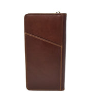 Real Italian Leather Travel Passport Wallet Boarding Pass Clutch Purse AVM10 Brown Back