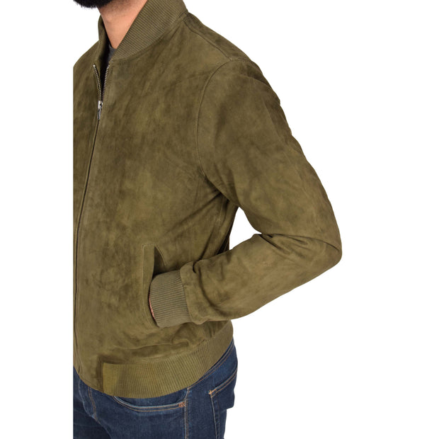 Mens Soft Goat Suede Bomber Varsity Baseball Jacket Blur Green Feature