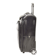 Real Leather Suitcase Cabin Trolley Hand Luggage A0518 Black Side 1