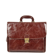 Mens Leather Look Briefcase Office Business Executive Bag A5071 Brown Front
