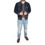 Mens Genuine Suede Bomber Jacket Roco Blue Full
