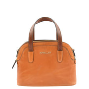 Womens Cognac Leather Tote Handbag Zip Top Smart Designer Bag Lisa Front Without Belt