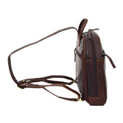 Womens Backpack Brown LEATHER Rucksack Organiser Bag Harper Side