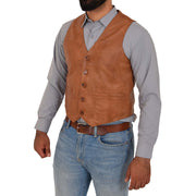 Mens Full Leather Waistcoat Gilet Traditional Smart Vest King Tan Front 2