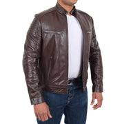Mens Cafe Racer Biker Leather Slim Fit Jacket Teddy Brown Open 1