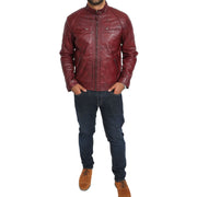 Gents Fitted Biker Leather Jacket Django Burgundy Full