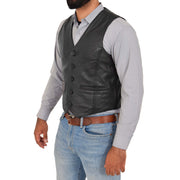 Mens Full Leather Waistcoat Gilet Traditional Smart Vest King Black Front 2