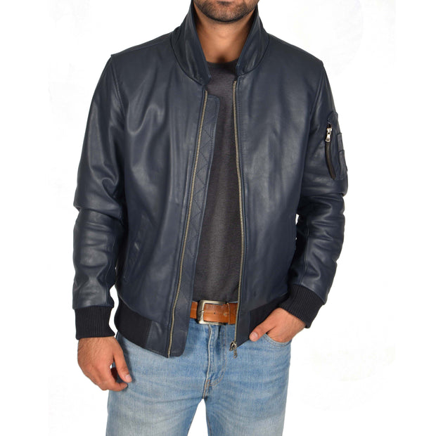 Mens Real Cowhide Bomber Leather Pilot Jacket Lance Navy Open