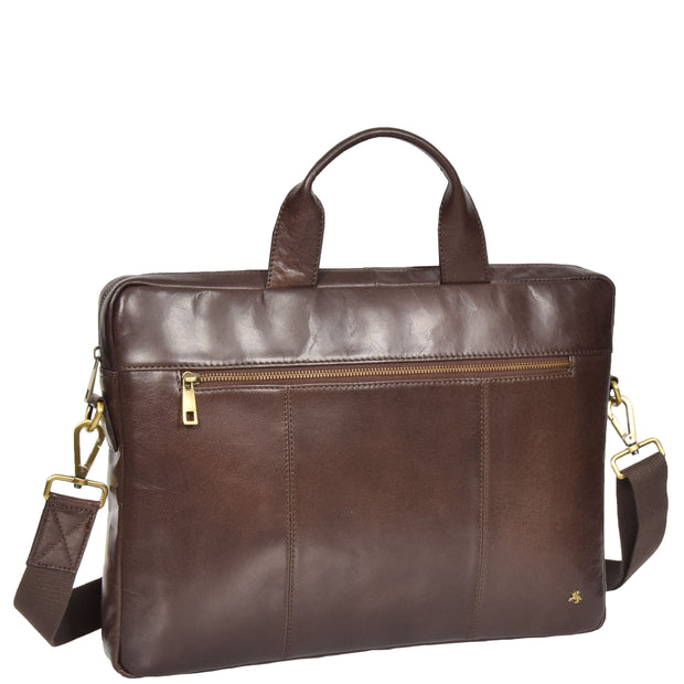 Laptop Briefcase Real Leather Business Bag Messenger Satchel Brown Nice Front Angle