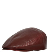 Genuine Burgundy Leather Flat Cap English Granddad Baker-boy Hat Arthur Side Angle