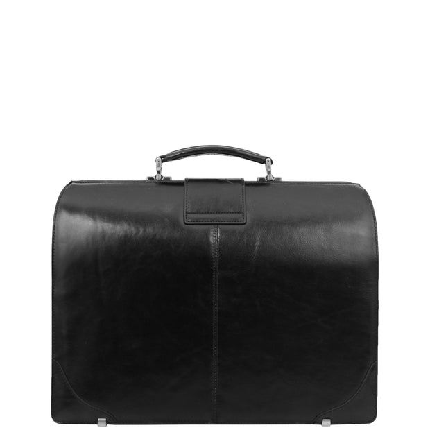 Exclusive Doctors Leather Bag Black Italian Briefcase Gladstone Bag Doc Back