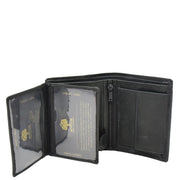 Mens Real Leather Bifold Wallet Credit Cards Coins Note Holder AV61 Black Open 2
