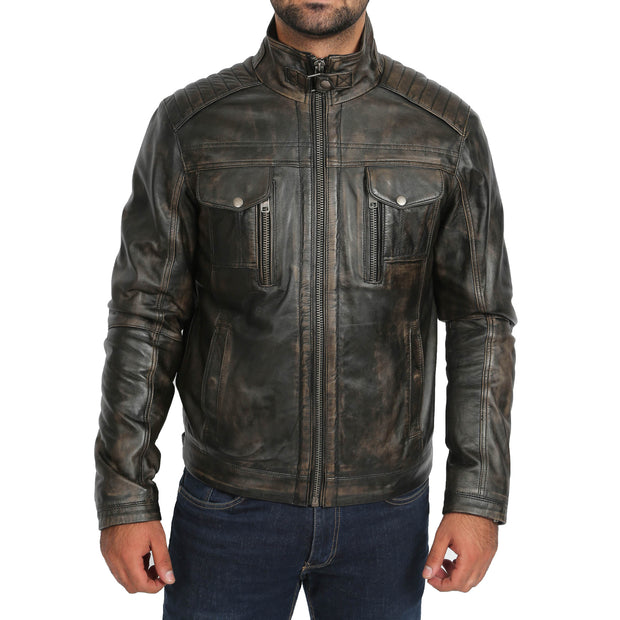 Mens Fitted Washed Biker Vintage Leather Aron Rub Off Front 2