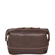 Vintage Leather Brown Toiletry Shaving Kit Cosmetic Travel Wash Bag Austin Front
