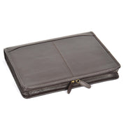 Zip Around Folio Leather Folder A4 Binder Organiser Underarm Bag A1 Brown