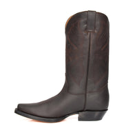 Real Leather Pointed Toe Cowboy Boots ALBH57 Brown Side 2