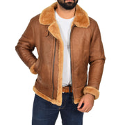 Authentic Aviator Coat Real Sheepskin Vintage Tan Bomber Jacket Tornado Open 1