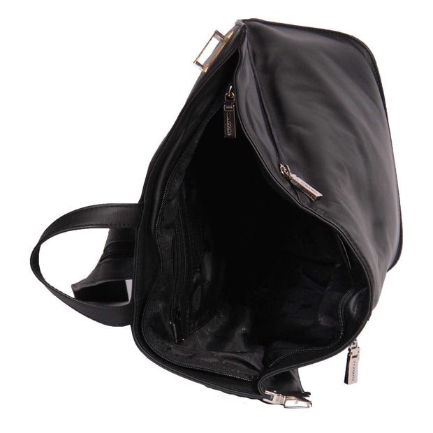 Womens Luxury Leather Backpack Hiking Rucksack Organiser Bag A58 Black Top Open