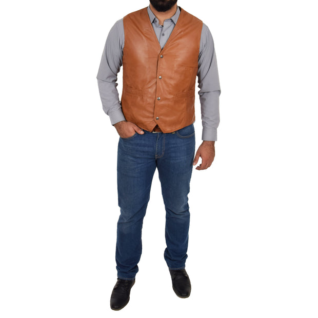 Mens Soft Leather Waistcoat Classic Gilet Bruno Tan full view