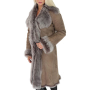 Womens Luxurious Toscana Long Coat Real Sheepskin Pamela Taupe Front 2