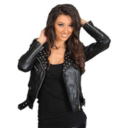 Ladies Studded Cropped Fitted Biker Leather Jacket Diane Black Open