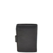 Mens Snap Closure Purse Real Leather Wallet AL31 Black Back