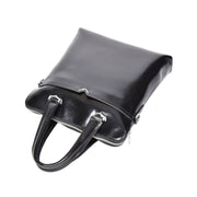 Cross body Italian Leather Bag Black Casual Flight Bag Exeter Front Letdown